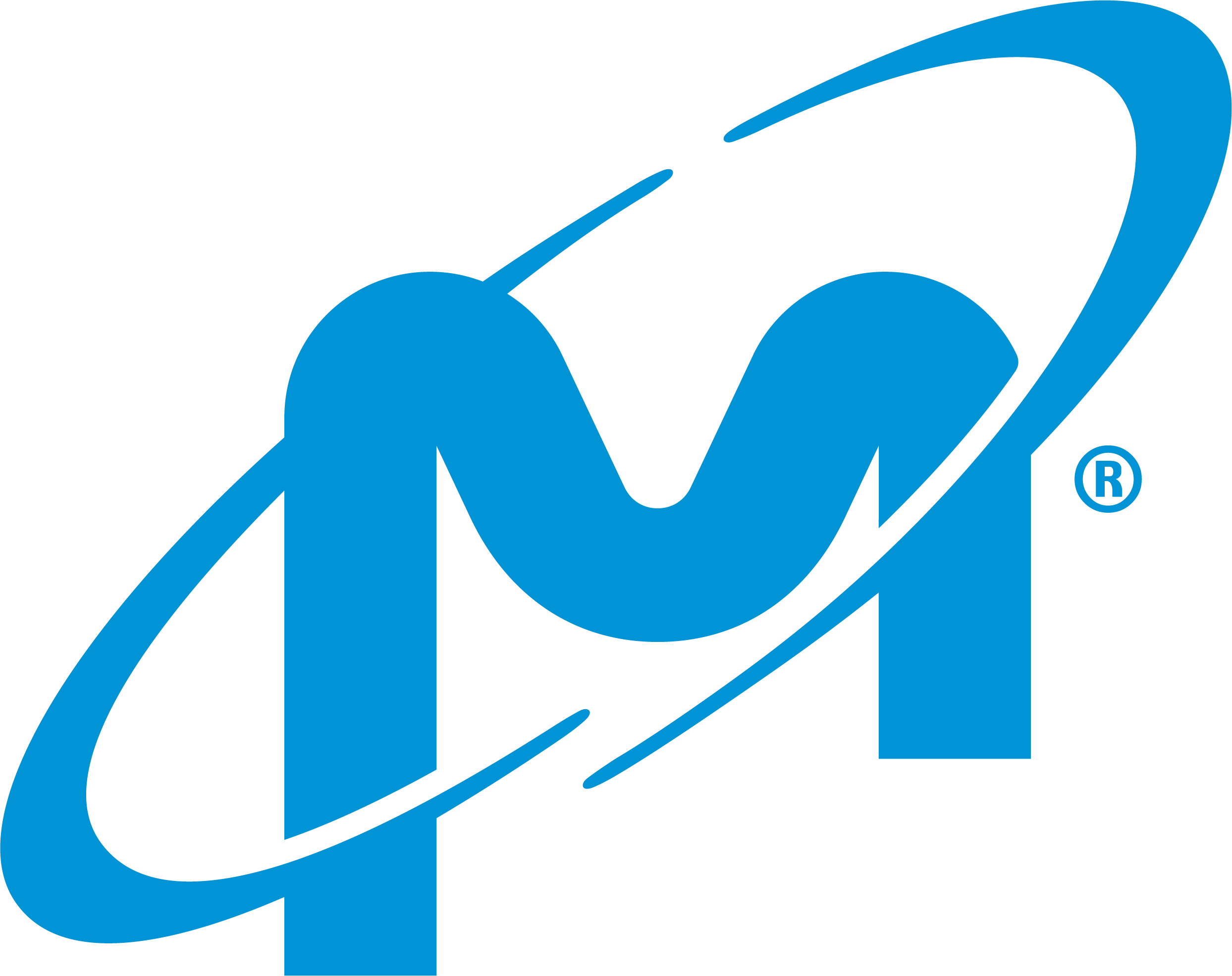 Micron blue M encircled with slanted blue line